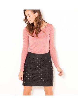 Ružové tričko s krajkovým detailom CAMAIEU