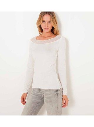 Bílé tričko s krajkovým detailem CAMAIEU