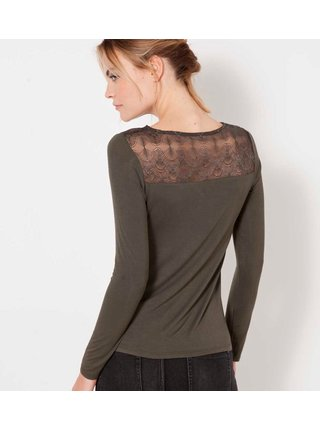 Tričká s dlhým rukávom pre ženy CAMAIEU - kaki