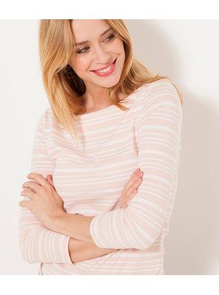 Světle růžové proužkované basic tričko CAMAIEU