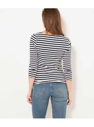 Tričká s dlhým rukávom pre ženy CAMAIEU - čierna, biela