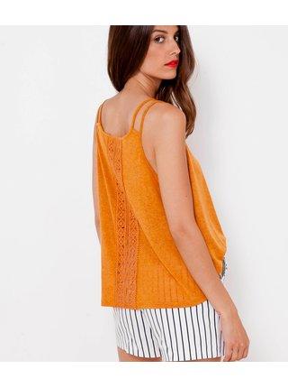 Oranžový top s krajkovou vsadkou na chrbte CAMAIEU