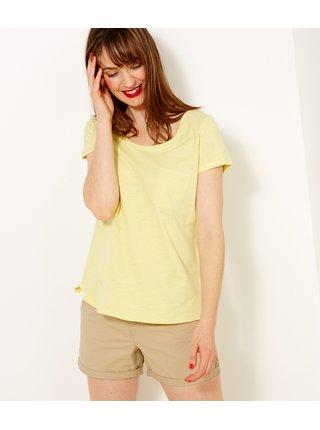Tričká s krátkym rukávom pre ženy CAMAIEU - žltá