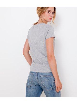 Tričká s krátkym rukávom pre ženy CAMAIEU - svetlosivá