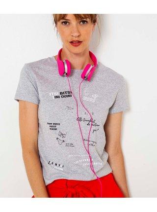 Svetlošedé tričko s potlačou CAMAIEU