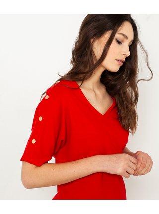 Červené tričko s ozdobnými gombíkmi na rukávoch CAMAIEU