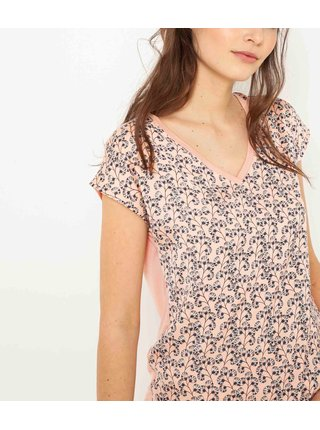Ružové kvetované tričko CAMAIEU