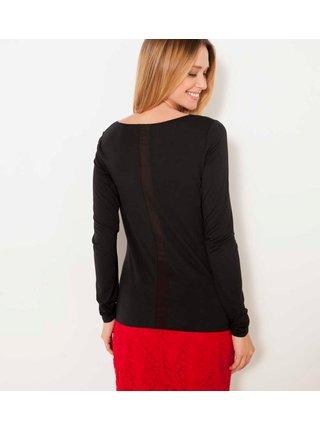 Černé tričko s ozdobným pruhem na zádech CAMAIEU