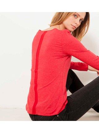Červené dámské tričko s ozdobným pruhem na zádech CAMAIEU