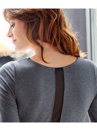 Tričká s dlhým rukávom pre ženy CAMAIEU - sivá