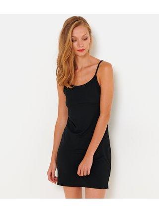 Černé dámské šaty s průhlednám pruhem na boku CAMAIEU