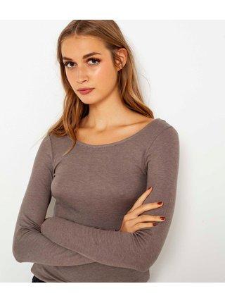 Tričká s krátkym rukávom pre ženy CAMAIEU - svetlohnedá