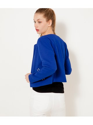 Modré dámské sako s ozdobným lemováním CAMAIEU