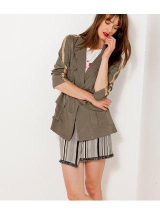 Khaki dámská lehká bunda se zlatým lemem na rukávech CAMAIEU