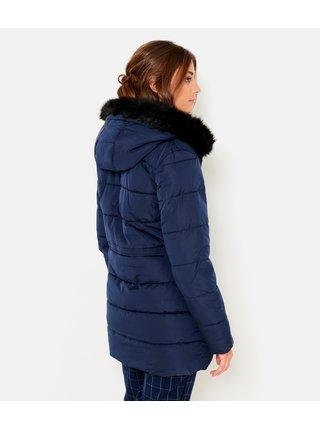 Tmavomodrý zimný prešívaný kabát s umelým kožúškom CAMAIEU