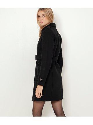 Černý kabát s příměsí lnu CAMAIEU