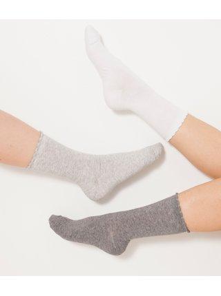 Sada tří párů ponožek v bílé a šedé barvě CAMAIEU