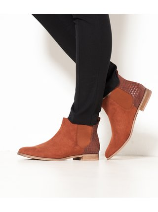 Hnědé chelsea boty v semišové úpravě CAMAIEU