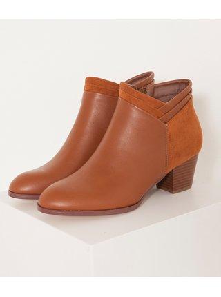 Hnědé kotníkové boty s detaily v semišové úpravě CAMAIEU