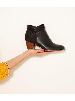Černé lesklé kotníkové boty CAMAIEU