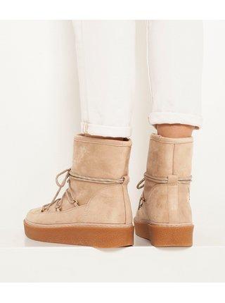 Staroružové zimné členkové topánky s vnútorným umelým kožúškom CAMAIEU