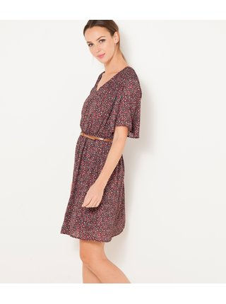 Hnedé kvetované šaty s opaskom CAMAIEU