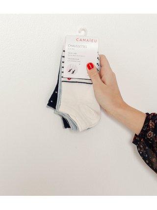 Sada tří párů ponožek v bílé a modré barvě CAMAIEU