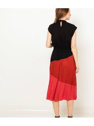 Červená plisovaná midi sukně CAMAIEU