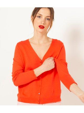 Kardigany pre ženy CAMAIEU - oranžová