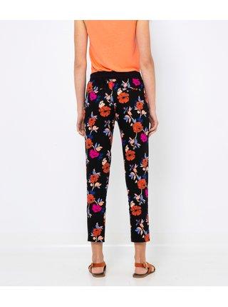 Čierne kvetované skrátené nohavice s pásom CAMAIEU