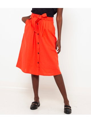 Oranžová ľanová sukňa CAMAIEU