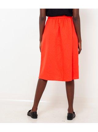 Oranžová lněná sukně CAMAIEU