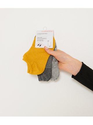 Sada tří párů ponožek v šedé a hořčicové barvě CAMAIEU