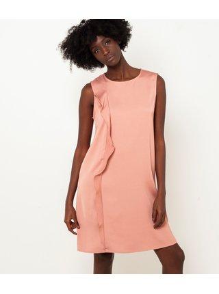 Marhuľové šaty s ozdobným volánom CAMAIEU