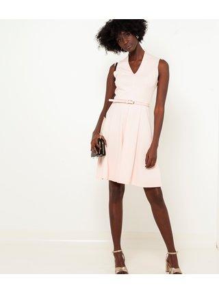 Krémové šaty s páskem CAMAIEU