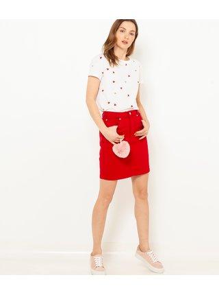 Červená rifľová sukňa CAMAIEU