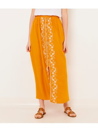 Oranžová maxi sukně s ozdobnou výšivkou CAMAIEU