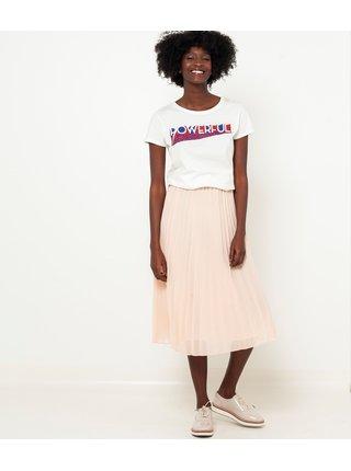 Tělová plisovaná midi sukně CAMAIEU