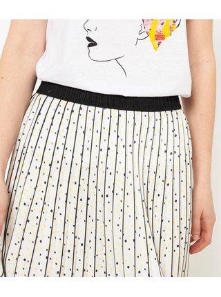Krémová plisovaná puntíkovaná midi sukně CAMAIEU