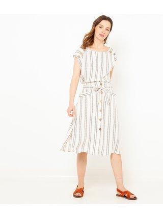 Krémová pruhovaná sukně CAMAIEU