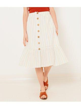 Krémová pruhovaná midi sukně CAMAIEU