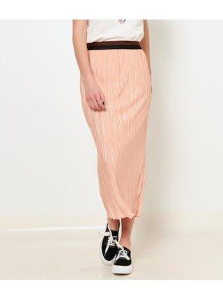 Světle růžová plisovaná midi sukně CAMAIEU