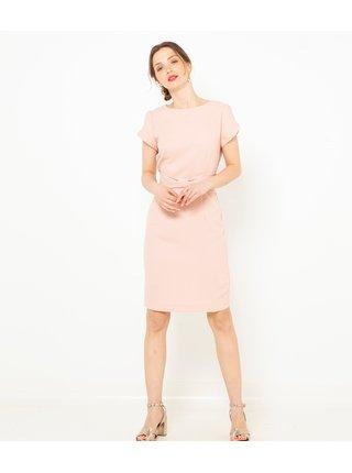 Světle růžové pouzdrové šaty CAMAIEU