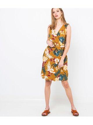 Hořčicové lněné květované šaty CAMAIEU
