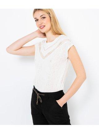 Bílé tričko s děrovanou vsadkou CAMAIEU