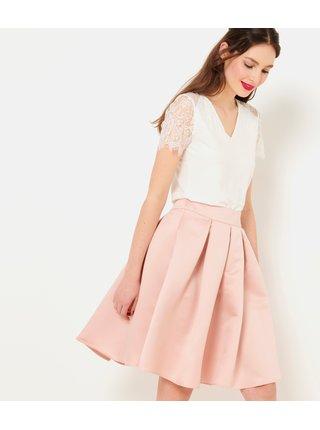 Světle růžová skládaná sukné CAMAIEU