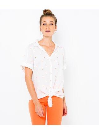 Biela bodkovaná košeľa CAMAIEU