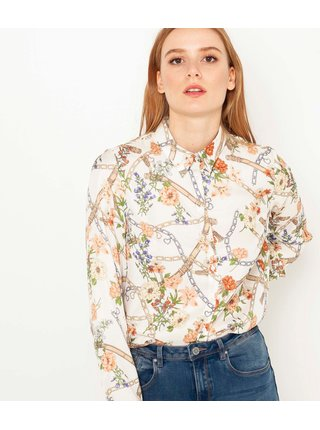 Krémová vzorovaná košile CAMAIEU