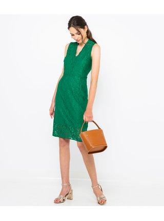Zelené krajkové pouzdrové šaty CAMAIEU