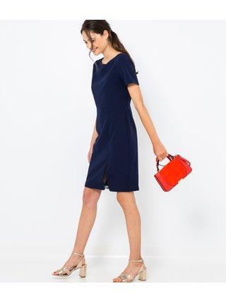 Tmavě modré pouzdrové šaty s detailem krajky CAMAIEU